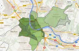Bevölkerungsdichte Basler Quartiere