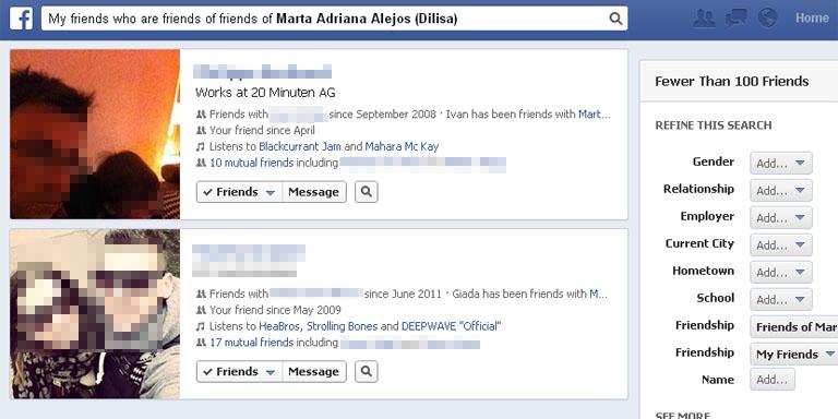 Personensuche mit Facebook Graph