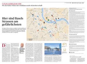 Die Basler Polizei analysiert sämtliche Verkehrsunfälle und erstellt daraus eine sogenannte «Black Spot»-Karte. Weil die Karte als Arbeitsinstrument gilt und nicht zur Veröffentlichung freigegeben ist, hat die bz sie anhand der Verkehrsstatistiken der letzten Jahre nachgebaut.
