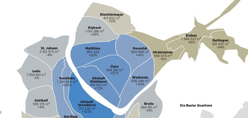 Basler Wohnquartiere als D3.js-Cartogram